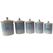 5 Vintage French Limoges Porcelain Canisters White and Pale Blue with Gold Decoration