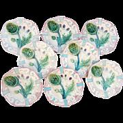 8 Majolica Antique French Asparagus Plates