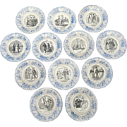 Antique French Dessert Plates Set of 12 with Divorce Theme