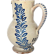 18th Century French Faience Pitcher in Creamy White for Oil