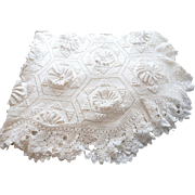 Hand Made French Vintage Coverlet in Beautiful Crochet Pattern
