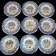 French Dessert Plates Set of 9 Rebus Theme