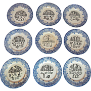 French Dessert Plates Set of 9 Rebus Theme