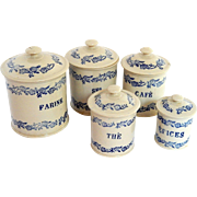 5 Vintage French  St Uze  Canisters in White and Blue Complete with Lids