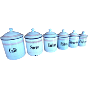 6 French Vintage Enamelware Canisters with Pink and Gold Decoration