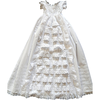 "Exceptional English ""Victorian"" Christening Gown with Lots of Ruffles and Embroidery"