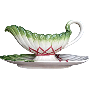 French Sarreguemines Majolica Asparagus Sauce Boat