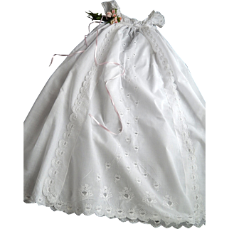 Elegant Antique Christening Gown Handmade with Exceptional Embroidery of the Famous Aryshire type