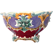 French Antique Majolica Jardiniere Large size