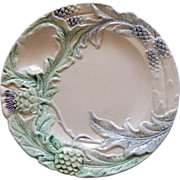 French Majolica Asparagus Plate Fives-Lille