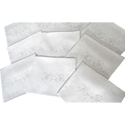 16 French Linen Damask Napkins of Highest Quality - Red Tag Sale Item