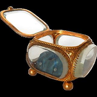 French Glass ' Belle Epoque ' Antique Trinket Box