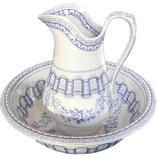 French Vintage Floral Transferware White and Lavender Porcelain Basin and Pitcher...with Toothbrush Holder