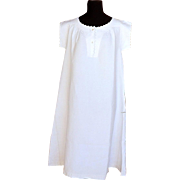Vintage French Nightgown with Embroidery in Fine Linen
