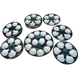 Majolica Vintage French Oyster Platter and 12 matching plates in Cream and Deep Blue-Green
