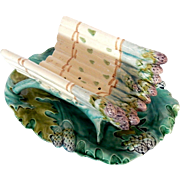 Antique French Asparagus Server in Barbotine Majolica