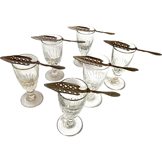 Authentic French Absinthe Glasses with Spoons from the Turn of the Last Century