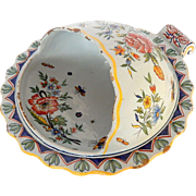 Antique French Desvres Faience Chestnut Server from Fourmaintraux