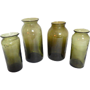 4 Handblown Glass French Antique Truffle Preserving Jars in Green