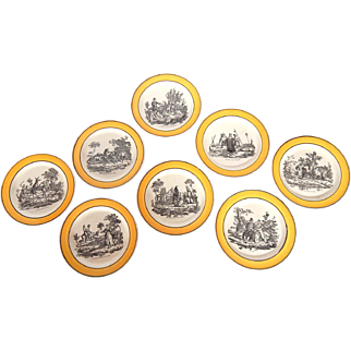 8 Antique Plates with Yellow Rim 'Fables of Fontaine' by Montereau c.1830