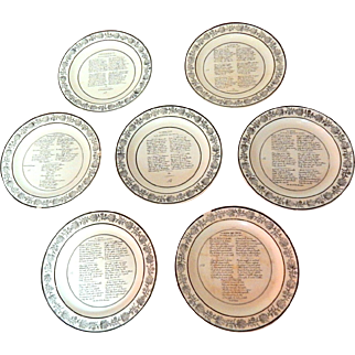 7 Antique French Choisy Dessert Plates  Drinking Song Theme Early 1800s