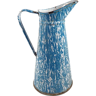Vintage French Blue and White Marbled Enamelware Pitcher
