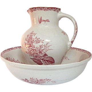 French Antique Transferware Rose Pink and Cream Porcelain Basin and Pitcher