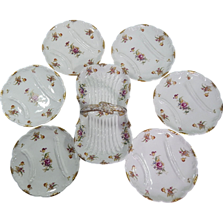 Limoges French Asparagus Service with 6 Plates and Server 19th cent.