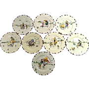 French Creil et Montereau Plates Set of 9 with Children and Food Theme