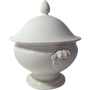 French Antique White Porcelain Tureen Large Size Creil et Montereau 19th century