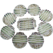 8 Antique English Asparagus Plates in Cream Majolica