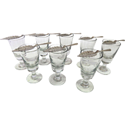 8 Authentic French Absinthe Glasses with Spoons from the Turn of the Last Century
