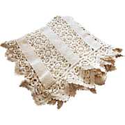 Hand Made French Vintage Coverlet in Beautiful Lacy Crocheted Pattern