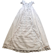 Elegant and Sweet Vintage French Christening Gown with Dainty Embroidery