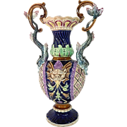 French Antique Majolica Vase c. 1890-1910
