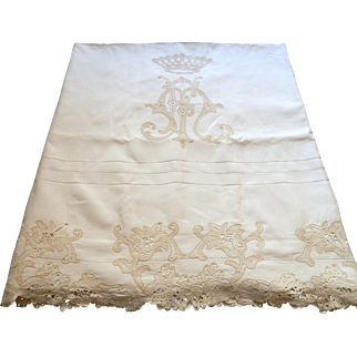French Vintage Linen Sheet with Coronet of Count Handmade Lace