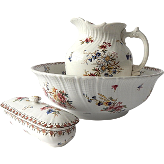 French Vintage Floral Transferware Cream Porcelain Basin and Pitcher Chippy and Shabby ...with Toothbrush Holder