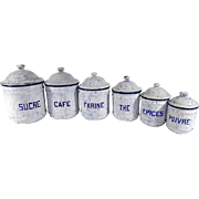 Group of 6 Vintage French Enamelware Canisters in White and Blue Complete with Lids