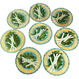 8 French Vintage Asparagus Plates