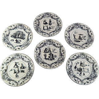 6 Antique French Dessert Plates Group of Rebus Theme