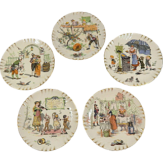 French Plates Set of 5 with Romantic Theme by French Artist Richard Froment