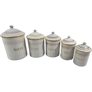 Group of 5 Vintage French Enamelware Canisters in White, Gold and Yellow Complete with Lids