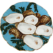 French Antique Haviland Limoges 'Turkey' Oyster Plate c1876 to 1889