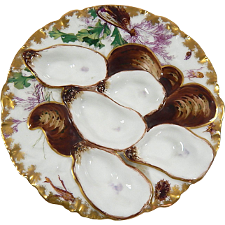 Limoges Antique French Haviland 'Turkey' Oyster Plate 19th Cent.