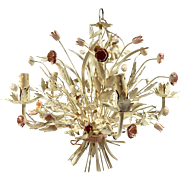 French Vintage Tole Chandelier 1950s