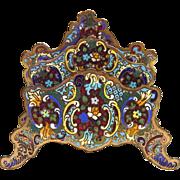 French Antique Cloisonne Enamel Letter Rack