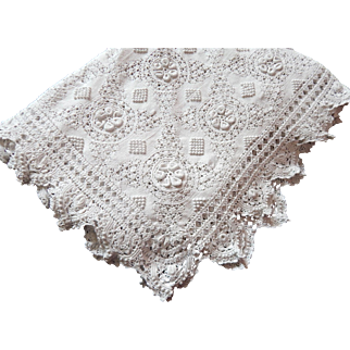 Hand Crocheted French Vintage Coverlet for Bed with Raised Pattern and Lacy Border
