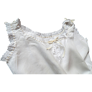 Handmade Vintage French Linen Nightgown with Embroidery, Ribbon, Ruffles and Tucks