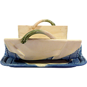 """Majolica / """"Barbotine"""" Antique French Asparagus Server in Faience"""
