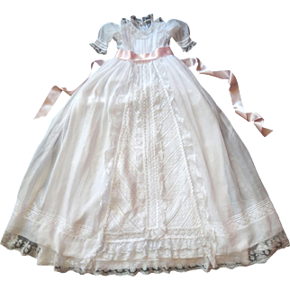 Vintage French Christening Gown with Embroidery and Lace...with Petticoat